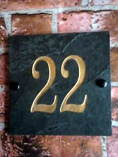 Deep engraved slate plaque with the number of the house gate door 15 x 15 cm