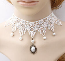 ROMANTIC WOMEN NECKLACE  COLLAR CHOKERS WHITE CHUNKY LACE PEARL BEADS TASSEL