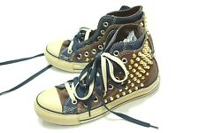 NEW CUSTOM GENUINE double TONGUE HI TOP CONVERSE ALL STAR BROWN GOLD SPIKE STUD