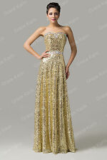Christmas CHEAP Gold Sequins LONG Evening Ball Gown Formal Prom Bridesmaid Dress