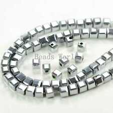 1 Strands Silver Plated AB Color Faceted Cube Glass Crystal Loose Beads 4mm