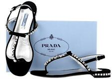 NEW PRADA BLACK SATIN LEATHER JEWELED THONG/HEELS DRESS SANDALS SHOES 39.5