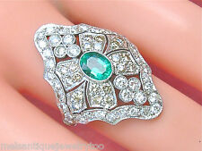 ESTATE ART DECO 2.25ctw DIAMOND .68ct OVAL EMERALD PLATINUM COCKTAIL RING