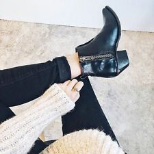 NEW FRYE Sacha Moto Shortie Ankle Boots Motorcycle Bootie Leather Black sz 8