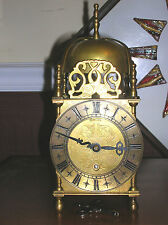 VINTAGE SMITHS ENGLAND ALL BRASS, LANTERN MANTLE CLOCK 8 DAY WORKING