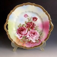 Antique Vintage C. T Germany Porcelain  Pink Rose Handle Cake Plate