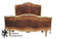 Rare Antique French Provincial Victorian Walnut Burl Custom Marquetry Bed Frame