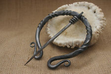 Hand Forged Medieval Penannular Brooch Twist Cloak Pin costume