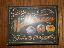 3 Designs-Williams Sonoma Halloween Cupcake Stencils-Witch,Pumpkin,Spider Web-Ne