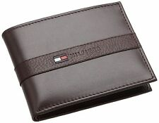 New Tommy Hilfiger Men's Brown Leather Bifold Ranger Passcase Wallet