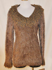 New CHIC Lapis Brown Soft Stretchy Shaggy Hair Lion Neck & Cuffs Sweater PL