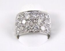 Brilliant Huge Round Cluster Diamond Wide Ring Band 14k White Gold 5.40Ct