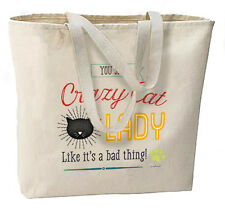 Crazy Cat Lady New Large Canvas Tote Bag Shop Events Gifts