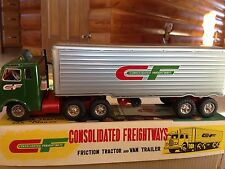 1950's Consolidated Freightways 'Friction Tractor & Van Trailers Tin Toy