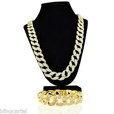 "Sand Blast Cuban Chain Gold Tone 30"" x 18MM Hip Hop Necklace & 8.5"" Bracelet Set"
