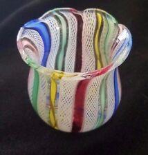 Vintage handblown  MURANO LATTICINO Art Glass TOOTHPICK VASE