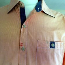 NWT ROBERT GRAHAM M orange check cotton long sleeve button front shirt TAILORED
