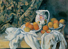 Oil painting Paul Cézanne - Still Life with Curtain and Flowered Jug plate
