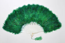 Forestgreen Marabou feather fan costumes Ladies Fancy Dress Wedding party burle