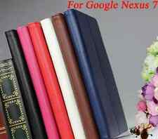 1st Gen Nexus7 tablet case faux leather stand wake up sleep white black blue prp