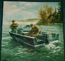 """SET OF 2 - FISHERMAN FISHING SEA BASS BOAT RIVER  LAKE ACCENT PILLOW COVERS 16"""""""