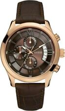 BRAND NEW GUESS W14052G2 CAPITOL ROSE GOLD CASE BROWN CROCO LEATHER MEN'S WATCH