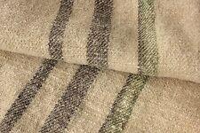 Vintage GRAIN SACK charcoal black grey brown + GREEN ~ RARE twill weave bag