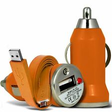 Orange Single Port USB Car Charger & Flat Data Cable For Nokia N8