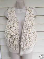 ABERCROMBIE & FITCH Ivory loopy open vest! 72% wool,22%nylon,5%cashmere,Nice!M/L