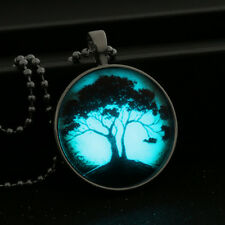 Luminous Glow in The Dark Noctilucent Pendant Necklace with Romantic Autumn Tree