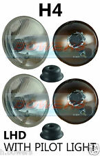 "7"" LHD EURO CLASSIC CAR SEALED BEAM HEADLAMPS HEADLIGHTS HALOGEN H4 CONVERSION"