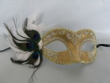 Mardi Gras Masquerade Mask - Cream & Gold With Peacock Feathers - NEW -