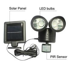 22 LED Solar Power PIR Motion Sensor Wall Light Dual Head Outdoor Garden Lamp