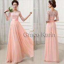GK Long Lace Chiffon Half Sleeve Cocktail Ball Gown Formal Evening Party Dresses