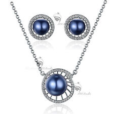 18k white gold GF made with swarovski crystal blue pearl earrings necklace set