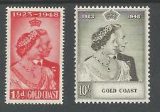 GOLD COAST THE  1948 GVI SILVER WEDDING PAIR  MOUNTED MINT CAT £35.30