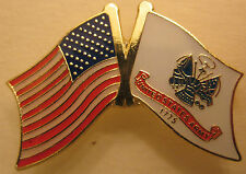Army Flag with crossed American Flag-Lapel pin,Tie Tack,Hat pin(1  1/4 x 1  1/2