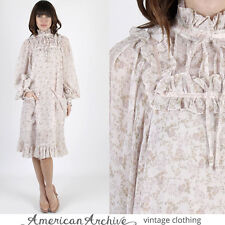 Vintage 70s Gunne Sax Dress Boho Wedding Calico Floral Lace Hippie Draped Mini