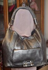 Michael Kors Tonne Hobo Silver Leather Shoulder Bag /w Twist Rope Handle