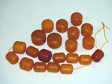 21 Vintage Butterscotch Amber Beads, All 1 inch long, with Variable Diameters