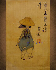 Korean Art Paint, A Lady In Jeonmo(전모쓴 여인) Shin Yun-bok신윤복, on silk Matted syb11