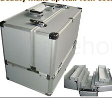 Large Silver Beauty Box Case With Trays And Dividers Easy Clean Interior