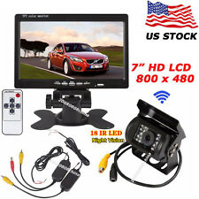 """Bus Truck 18LEDs Wireless IR Reversing Camera+7"""" Color LCD Car Rear View Monitor"""