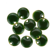Green Enamelled Round Disc/Coin Bead Charm Pendants 12mm - Pack of 10 (B74/15)