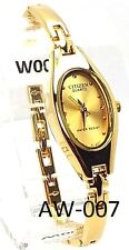 New Citizen Ladies Classic Gold-tone , Oval, Gold-dial Dress Watch