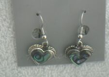 Earrings Heart small Abalone Shell Alpaca new rope border