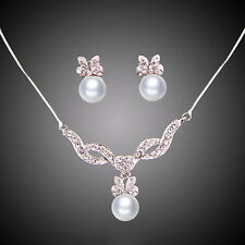 Fashion Pearl Pendant Necklace Earrings Crystal White Gold Plated Jewelry Sets