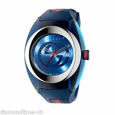 NEW GUCCI SYNC XXL BLUE DIAL BLUE RUBBER STRAP MEN'S WATCH YA137104