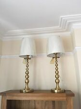 NEW RALPH LAUREN ANTIQUE BALL Brushed Brass CANDLE STICK LAMPS W/SHADES x 2