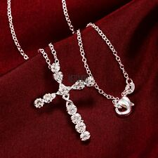Women Shinny Silver Plated Crystal Cross Pendant Necklace Sweater Chain Jewelry